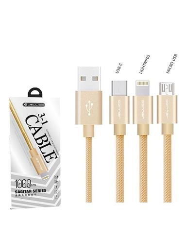 JELLICO CABLE LIGHTNING/MICRO USB/USB-C DORADO (GS-13)