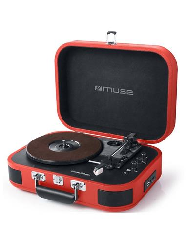 MUSE MT-201 BTR TOCADISCOS / BLUETOOTH / USB ROJO